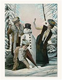 Women Building Snowman (Pkg Of 10 Holiday Cards)