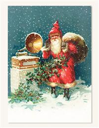 Santa & Gramophone (Pkg Of 10 Holiday Cards)