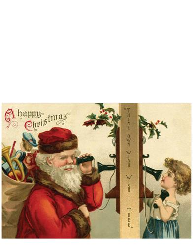 Santa On Phone Christmas Card (Pkg Of 10)