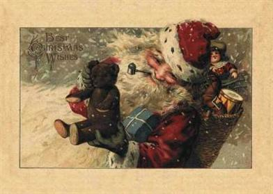 SANTA W/ BEAR HOLIDAY CARDS (PKG OF 10 CARDS)