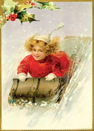 GIRL ON SLEIGH (PKG OF 10 HOLIDAY CARDS)