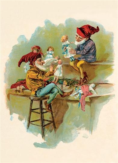 ELVES MAKING DOLLS (PKG OF 10 HOLIDAY CARDS)