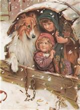 CHILDREN WITH COLLIE (PKG OF 10 HOLIDAY CARDS)