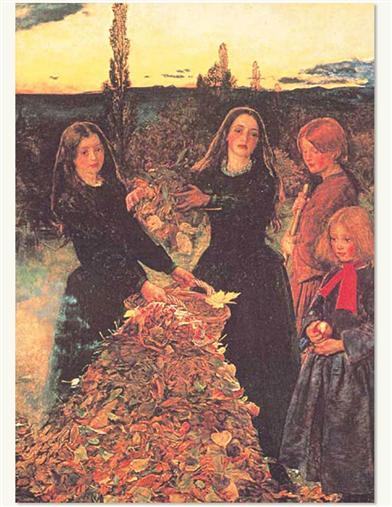 Girls With Leaves (Pkg Of 6 Thanksgiving Cards)
