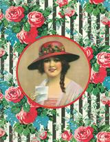 WOMAN W/FLORAL FRAMING (PKG OF 8 THANK YOU CARDS)