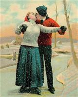 Single Val. Day Card/skaters Kissing Zzicc